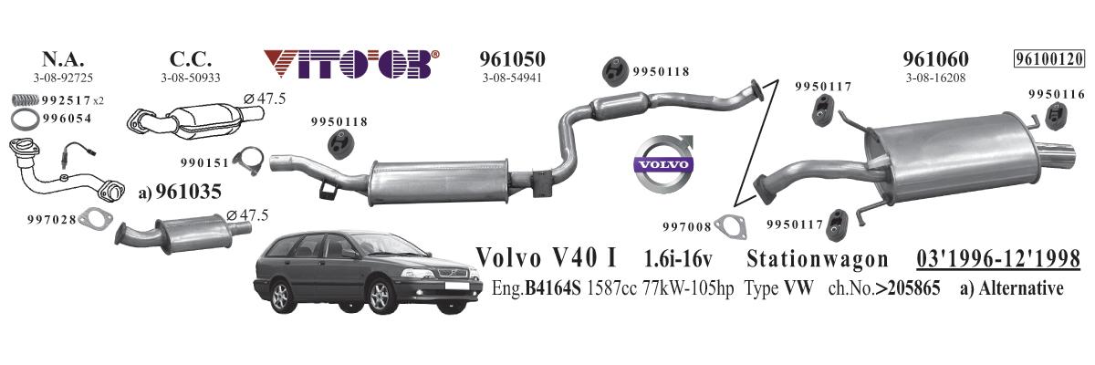 Exhaust For Volvo V40 I 19952004 Stationwagon: Volvo V40 Exhaust At Woreks.co
