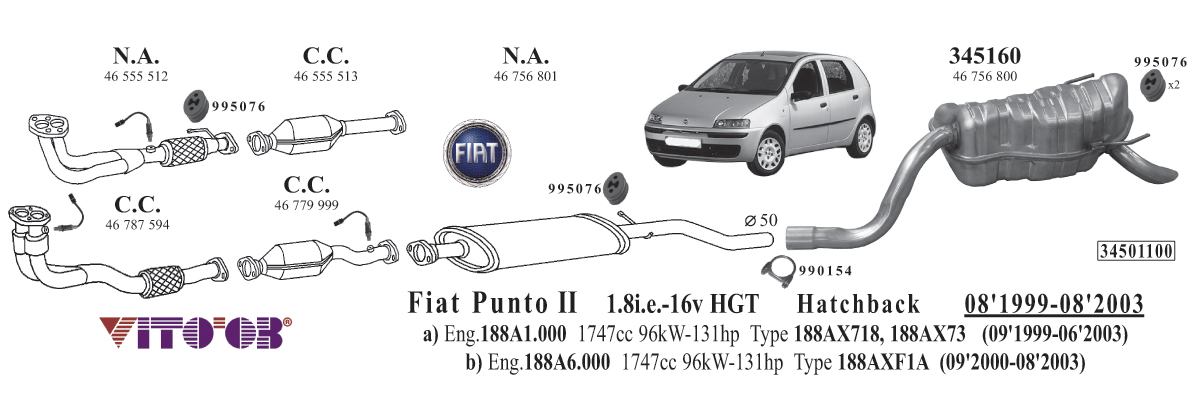 Exhaust For Fiat Punto Ii 19992012 Hatchback: Fiat Panda Exhaust System At Woreks.co