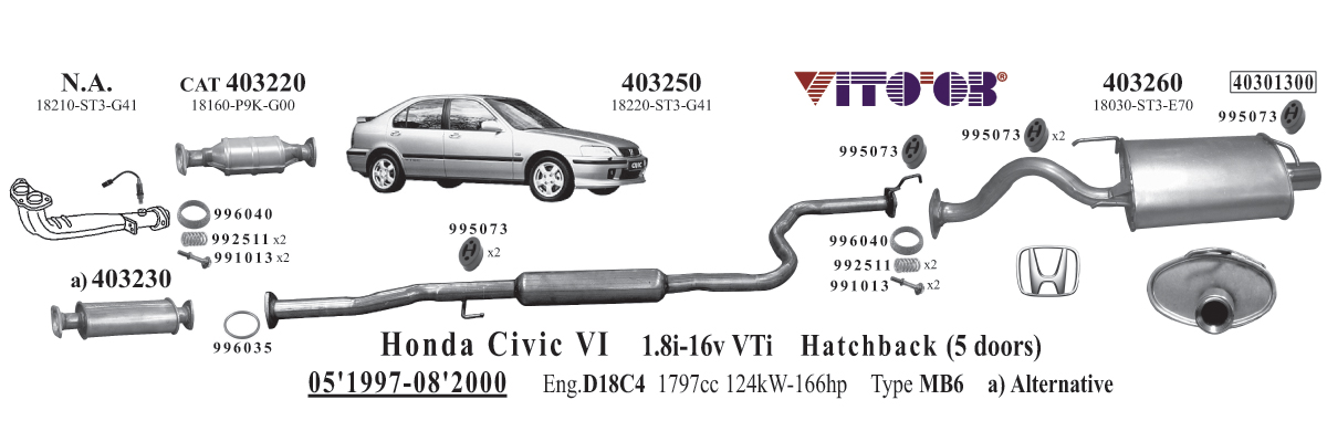 2001 Honda Civic Exhaust System Diagram