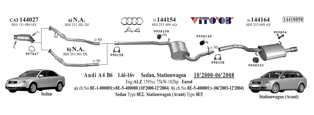 Vito03 Exhausts Esystems. Exhaust For Audi A4 B6 20002008 Sedanstationwagon. Audi. 1999 Audi A4 Exhaust System Diagram At Scoala.co